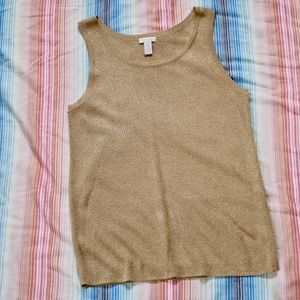 Chico's Gold and Glitter Crew Neck Tank Top NWOT